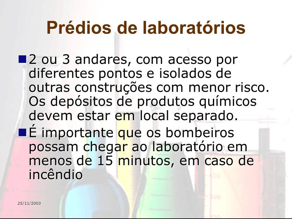 25/11/2003 Tamanho dos laboratórios Recomendável: pelo menos 10 m 2 /pessoa Recomendável: pelo menos 10 m 2 /pessoa Laboratórios grandes são necessários para aulas práticas.