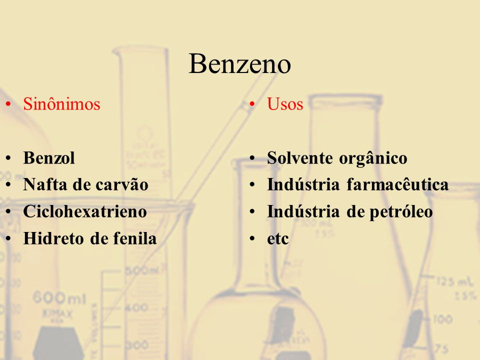 Benzeno Sinônimos Benzol Nafta de carvão Ciclohexatrieno Hidreto de fenila Usos Solvente orgânico Indústria farmacêutica Indústria de petróleo etc