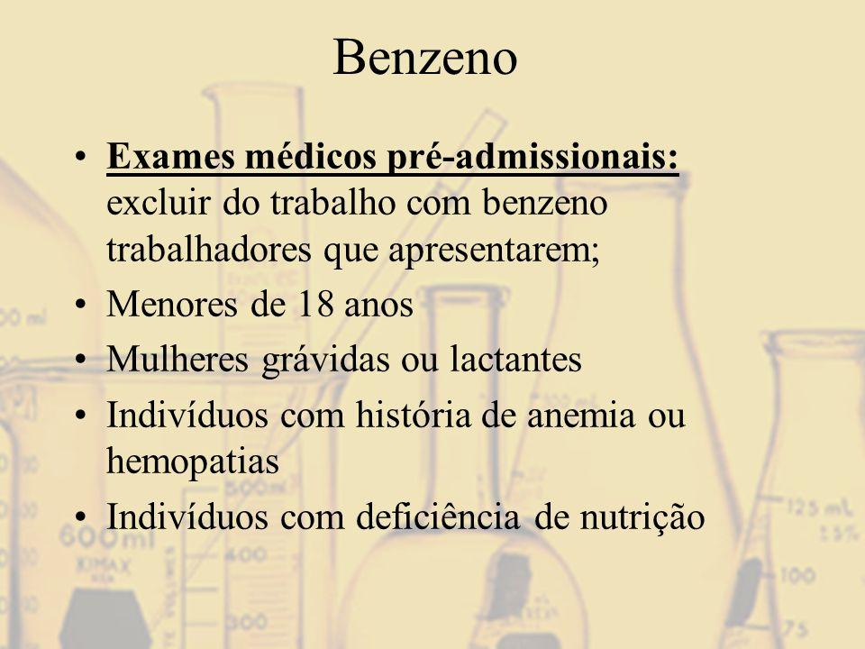 Benzeno Exames médicos pré-admissionais: excluir do trabalho com benzeno trabalhadores que apresentarem; Menores de 18 anos Mulheres grávidas ou lacta