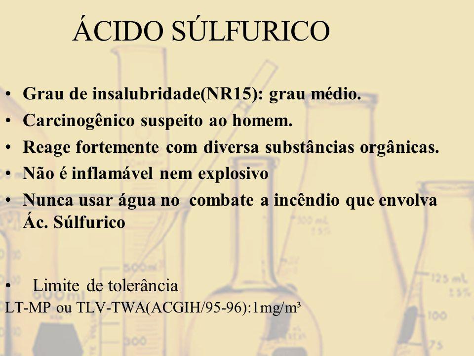 ÁCIDO SÚLFURICO Limite de tolerância LT-MP ou TLV-TWA(ACGIH/95-96):1mg/m³ Grau de insalubridade(NR15): grau médio. Carcinogênico suspeito ao homem. Re