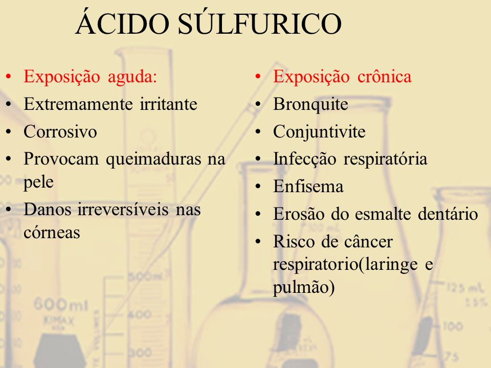 ÁCIDO SÚLFURICO Exposição aguda: Extremamente irritante Corrosivo Provocam queimaduras na pele Danos irreversíveis nas córneas Exposição crônica Bronq