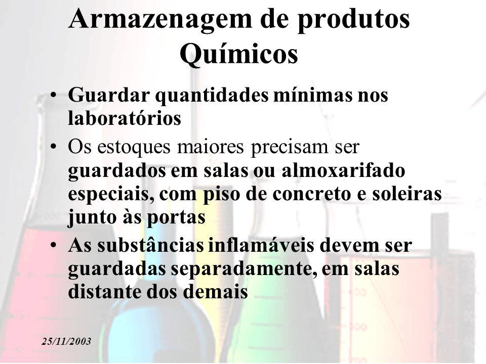 25/11/2003 Armazenagem de produtos Químicos Guardar quantidades mínimas nos laboratórios Os estoques maiores precisam ser guardados em salas ou almoxa