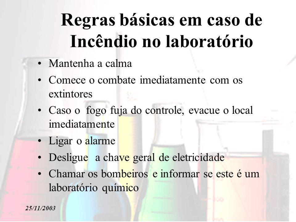 Regras básicas em caso de Incêndio no laboratório Mantenha a calma Comece o combate imediatamente com os extintores Caso o fogo fuja do controle, evac