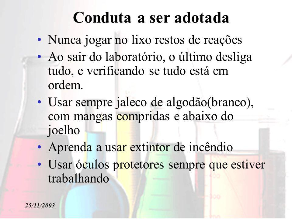 25/11/2003 Classificação dos Incêndios Classe A Materiais fibrosos ou sólidos.
