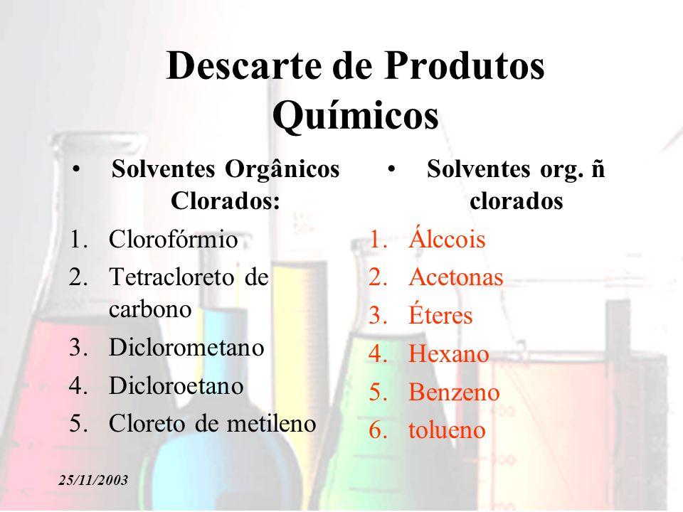25/11/2003 Descarte de Produtos Químicos Solventes Orgânicos Clorados: 1.Clorofórmio 2.Tetracloreto de carbono 3.Diclorometano 4.Dicloroetano 5.Cloreto de metileno Solventes org.