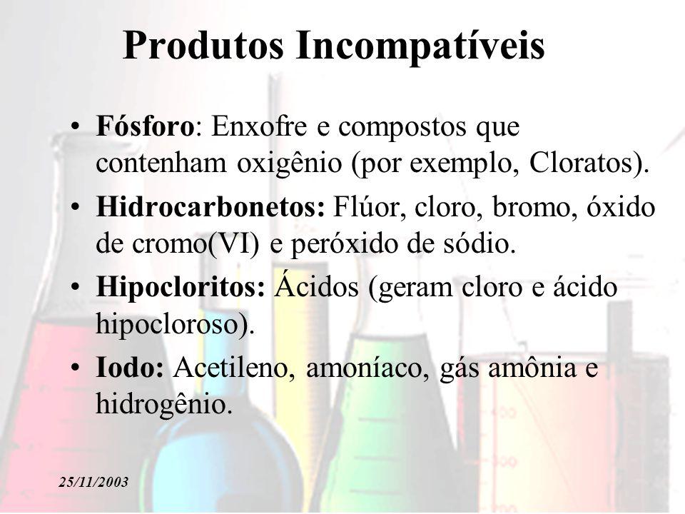 25/11/2003 Produtos Incompatíveis Fósforo: Enxofre e compostos que contenham oxigênio (por exemplo, Cloratos). Hidrocarbonetos: Flúor, cloro, bromo, ó