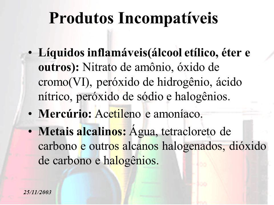 25/11/2003 Produtos Incompatíveis Líquidos inflamáveis(álcool etílico, éter e outros): Nitrato de amônio, óxido de cromo(VI), peróxido de hidrogênio,