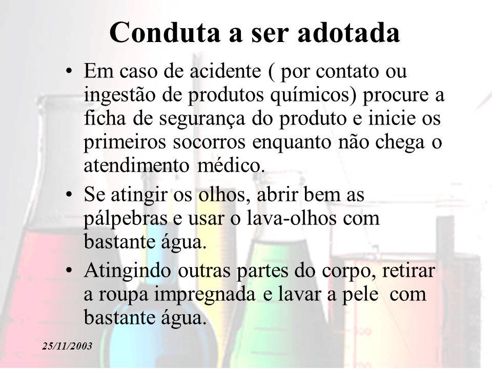 25/11/2003 Conduta a ser adotada É obrigatório o uso de pêras de borracha para pipetagem de produtos perigosos.