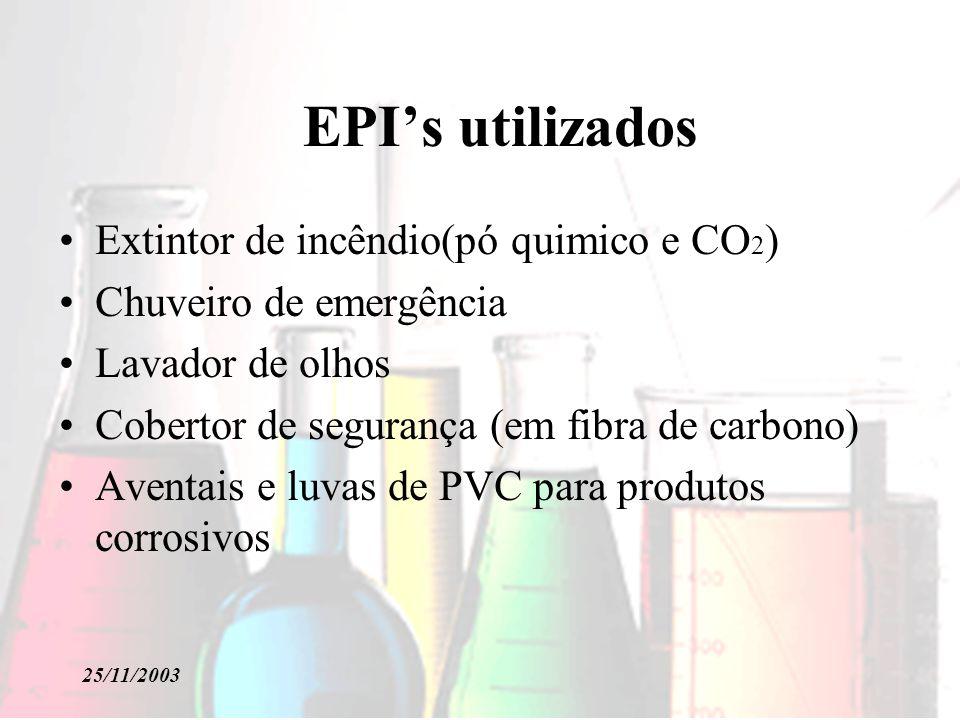 25/11/2003 EPIs utilizados Extintor de incêndio(pó quimico e CO 2 ) Chuveiro de emergência Lavador de olhos Cobertor de segurança (em fibra de carbono) Aventais e luvas de PVC para produtos corrosivos