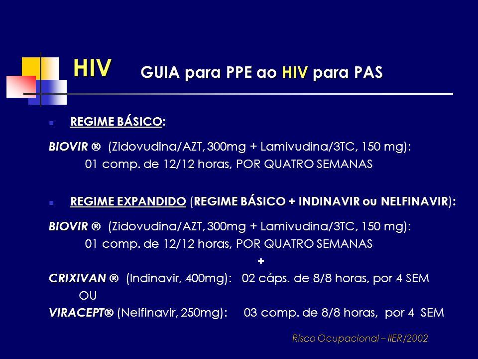 HIV GUIA para PPE ao HIV para PAS REGIME EXPANDIDOREGIME BÁSICO + INDINAVIR ou NELFINAVIR REGIME EXPANDIDO ( REGIME BÁSICO + INDINAVIR ou NELFINAVIR )