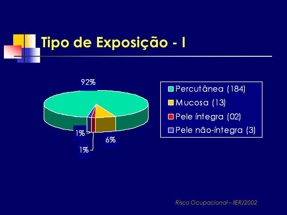 Tipo de Exposição - I Risco Ocupacional – IIER/2002