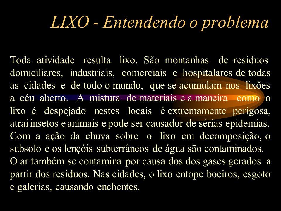 LIXO - Entendendo o problema Toda atividade resulta lixo.