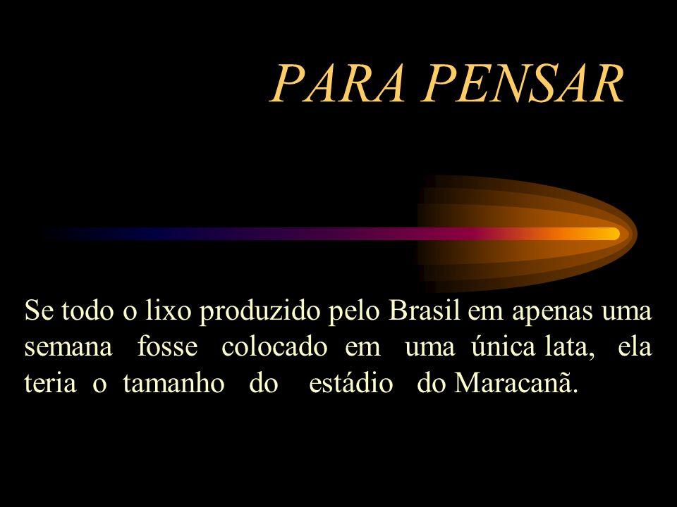 PARA PENSAR Se todo o lixo produzido pelo Brasil em apenas uma semana fosse colocado em uma única lata, ela teria o tamanho do estádio do Maracanã.