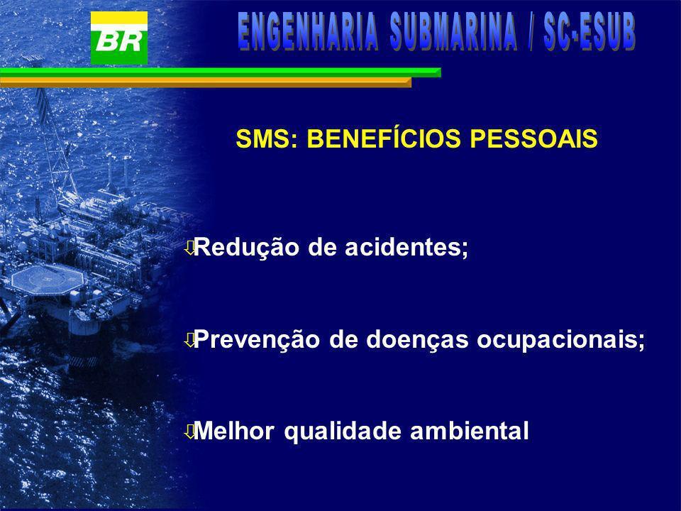 SMS: BENEFÍCIOS PESSOAIS ò Melhores condições ergonômicas de trabalho; ò Maior integração entre as funções Segurança, Meio ambiente e Saúde; e ò Melhor capacitação profissional para os envolvidos.