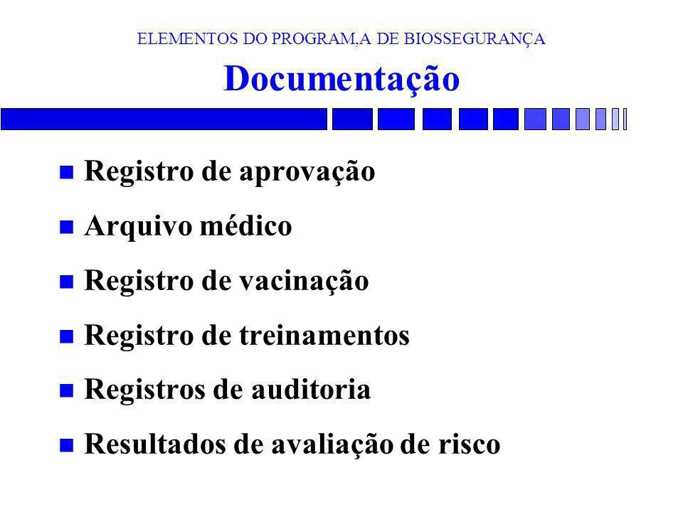 ELEMENTOS DO PROGRAM,A DE BIOSSEGURANÇA Documentação n Registro de aprovação n Arquivo médico n Registro de vacinação n Registro de treinamentos n Reg