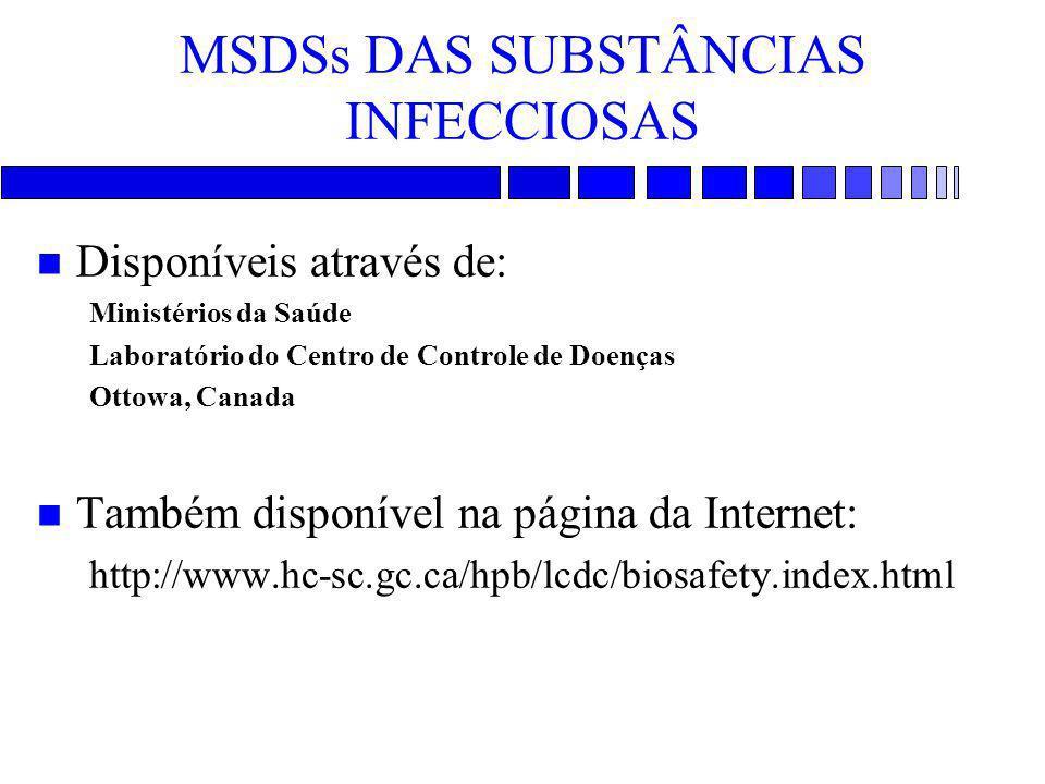 MSDSs DAS SUBSTÂNCIAS INFECCIOSAS n Disponíveis através de: Ministérios da Saúde Laboratório do Centro de Controle de Doenças Ottowa, Canada n Também