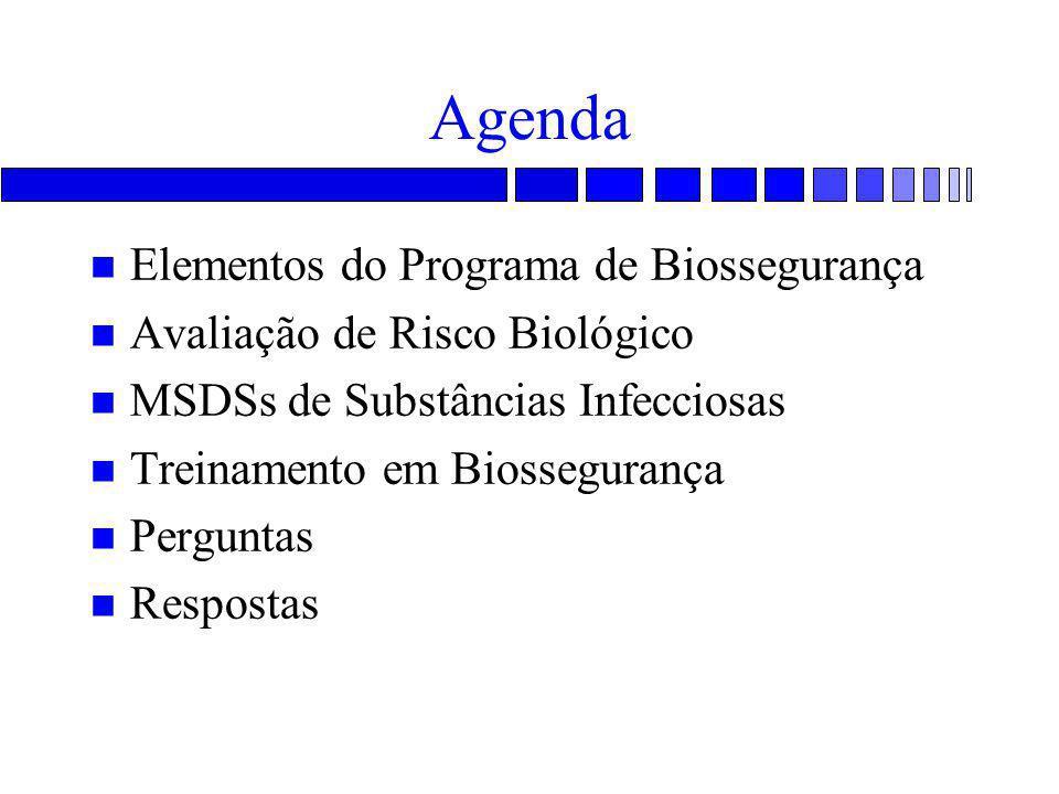 Agenda n Elementos do Programa de Biossegurança n Avaliação de Risco Biológico n MSDSs de Substâncias Infecciosas n Treinamento em Biossegurança n Per