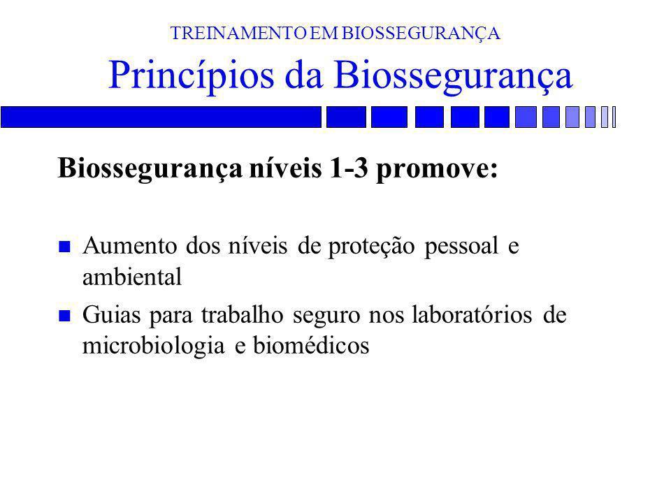 TREINAMENTO EM BIOSSEGURANÇA Princípios da Biossegurança Biossegurança níveis 1-3 promove: n Aumento dos níveis de proteção pessoal e ambiental n Guia
