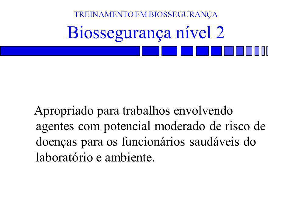 TREINAMENTO EM BIOSSEGURANÇA Biossegurança nível 2 Apropriado para trabalhos envolvendo agentes com potencial moderado de risco de doenças para os fun