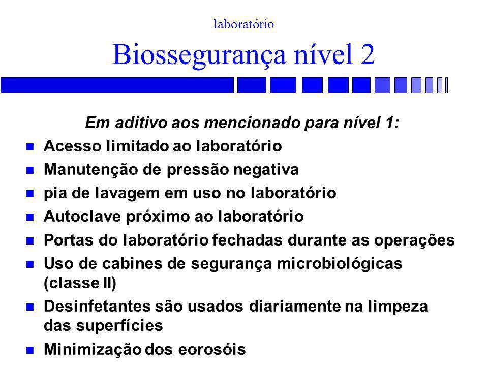TREINAMENTO EM BIOSSEGURANÇA - Práticas normais de laboratório Biossegurança nível 2 Em aditivo aos mencionado para nível 1: Acesso limitado ao labora