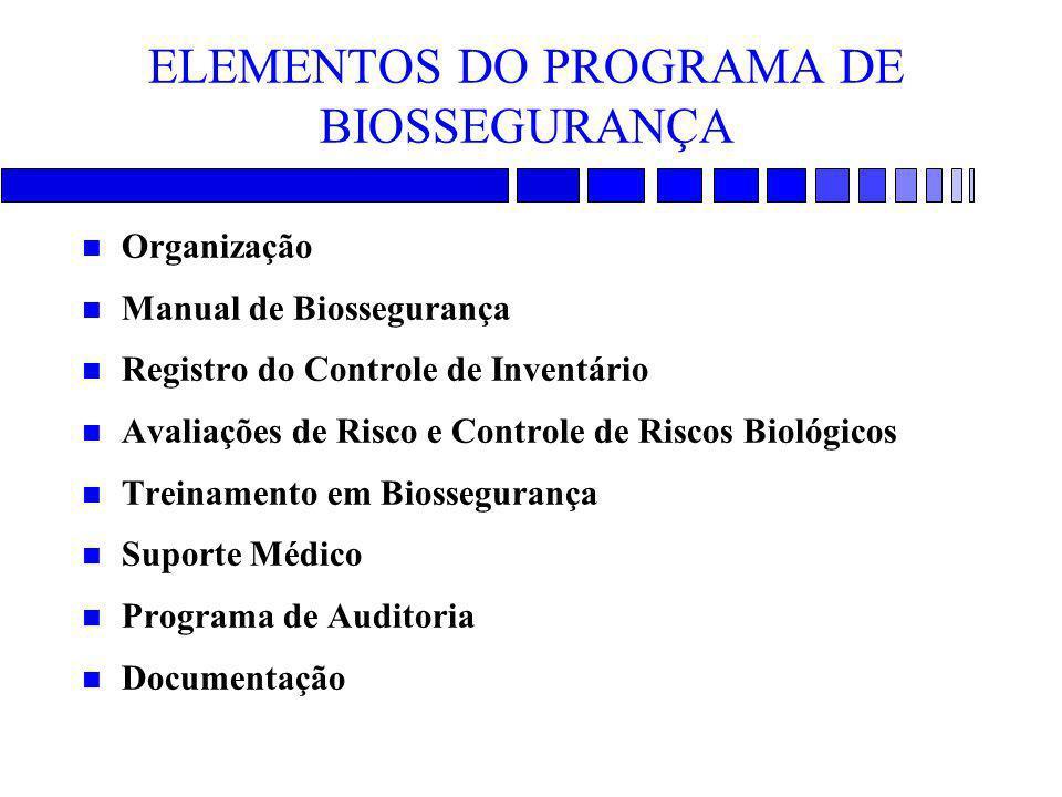 ELEMENTOS DO PROGRAMA DE BIOSSEGURANÇA n Organização n Manual de Biossegurança n Registro do Controle de Inventário n Avaliações de Risco e Controle d