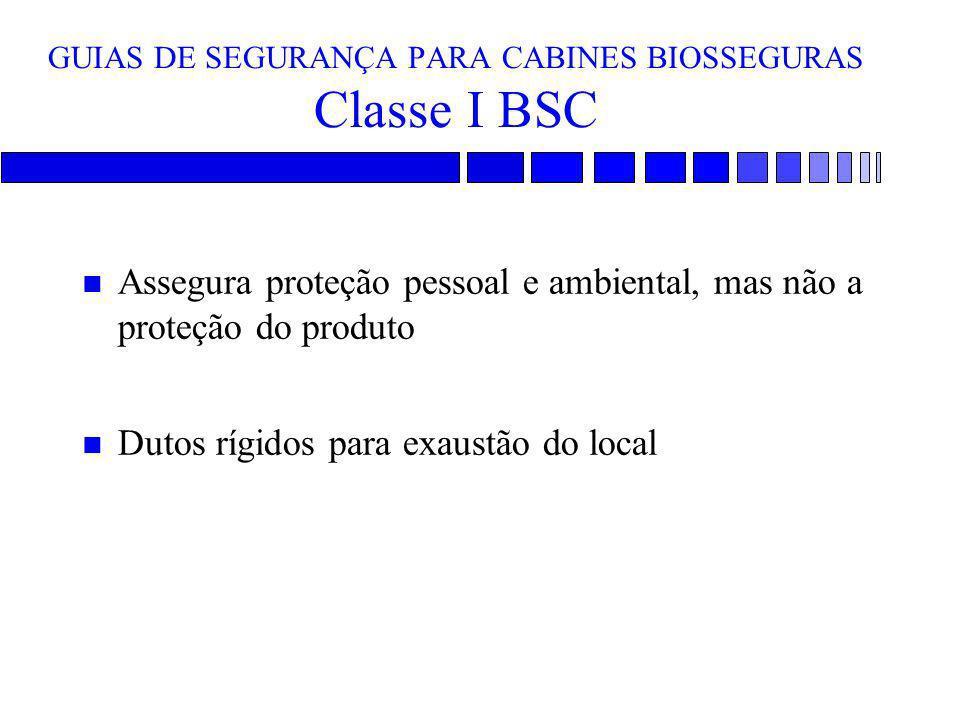 GUIAS DE SEGURANÇA PARA CABINES BIOSSEGURAS Classe I BSC n Assegura proteção pessoal e ambiental, mas não a proteção do produto n Dutos rígidos para e