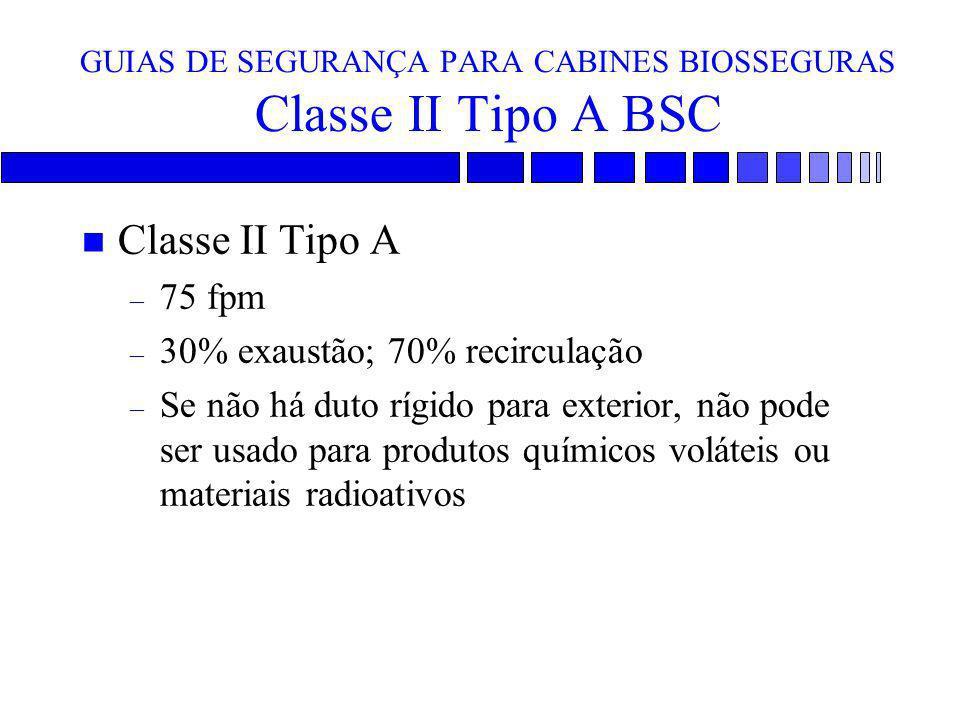 GUIAS DE SEGURANÇA PARA CABINES BIOSSEGURAS Classe II Tipo A BSC n Classe II Tipo A – 75 fpm – 30% exaustão; 70% recirculação – Se não há duto rígido
