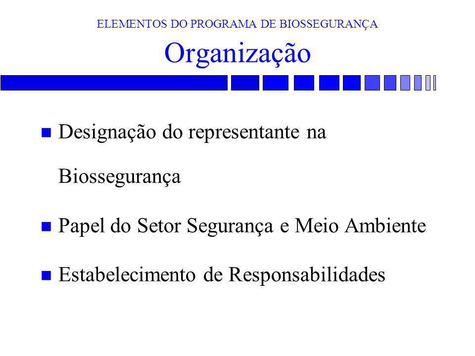 ELEMENTOS DO PROGRAMA DE BIOSSEGURANÇA Organização n Designação do representante na Biossegurança n Papel do Setor Segurança e Meio Ambiente n Estabel