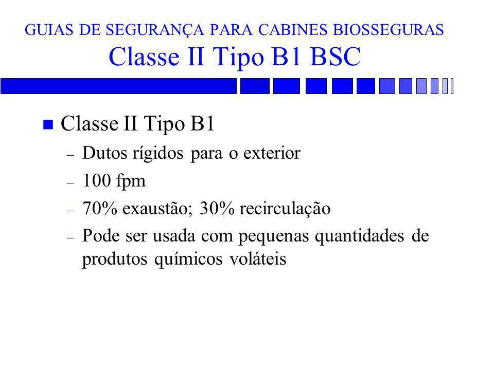 GUIAS DE SEGURANÇA PARA CABINES BIOSSEGURAS Classe II Tipo B1 BSC n Classe II Tipo B1 – Dutos rígidos para o exterior – 100 fpm – 70% exaustão; 30% re