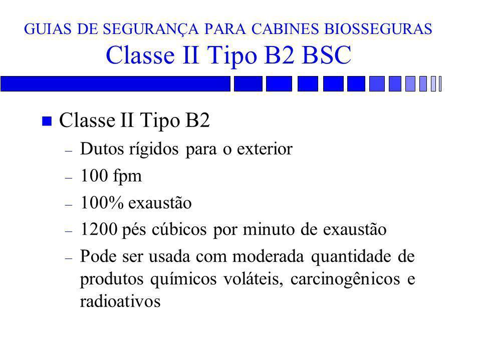 GUIAS DE SEGURANÇA PARA CABINES BIOSSEGURAS Classe II Tipo B2 BSC n Classe II Tipo B2 – Dutos rígidos para o exterior – 100 fpm – 100% exaustão – 1200
