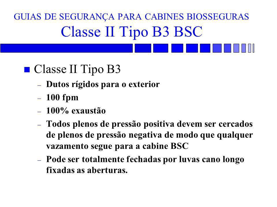 GUIAS DE SEGURANÇA PARA CABINES BIOSSEGURAS Classe II Tipo B3 BSC n Classe II Tipo B3 – Dutos rígidos para o exterior – 100 fpm – 100% exaustão – Todo