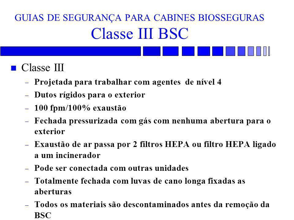 GUIAS DE SEGURANÇA PARA CABINES BIOSSEGURAS Classe III BSC n Classe III – Projetada para trabalhar com agentes de nível 4 – Dutos rígidos para o exter