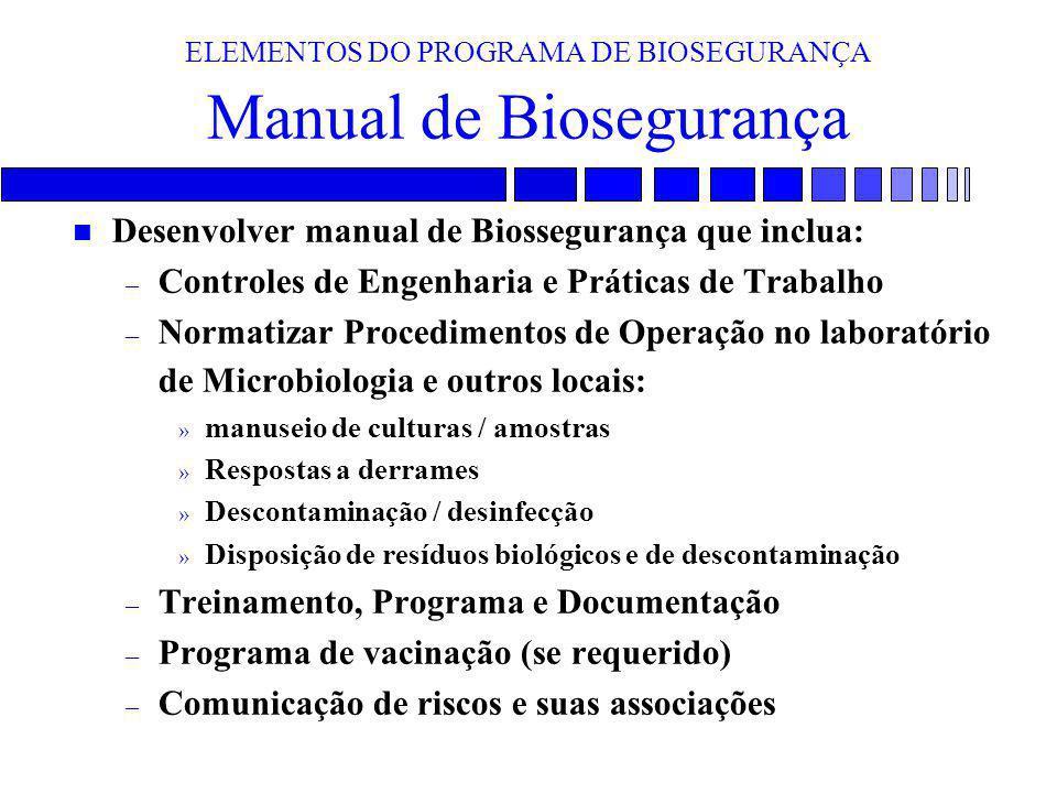 ELEMENTOS DO PROGRAMA DE BIOSEGURANÇA Manual de Biosegurança n Desenvolver manual de Biossegurança que inclua: – Controles de Engenharia e Práticas de