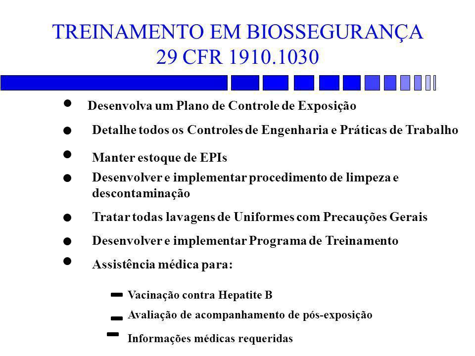 TREINAMENTO EM BIOSSEGURANÇA 29 CFR 1910.1030 Desenvolva um Plano de Controle de Exposição Detalhe todos os Controles de Engenharia e Práticas de Trab
