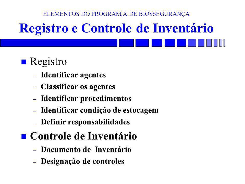 ELEMENTOS DO PROGRAM,A DE BIOSSEGURANÇA Registro e Controle de Inventário n Registro – Identificar agentes – Classificar os agentes – Identificar proc