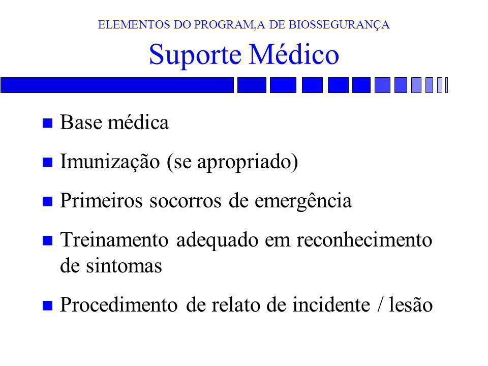 ELEMENTOS DO PROGRAM,A DE BIOSSEGURANÇA Suporte Médico n Base médica n Imunização (se apropriado) n Primeiros socorros de emergência n Treinamento ade