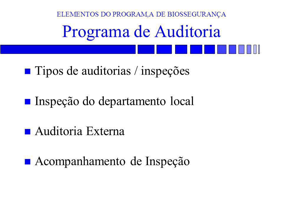 ELEMENTOS DO PROGRAM,A DE BIOSSEGURANÇA Programa de Auditoria n Tipos de auditorias / inspeções n Inspeção do departamento local n Auditoria Externa n