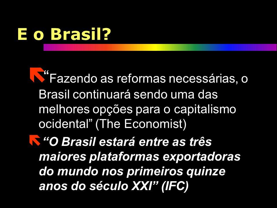 O Brasil ë Segundo todos os prognósticos feitos pelos bancos internacionais e organismos, o Brasil será o grande palco da competição global na próxima