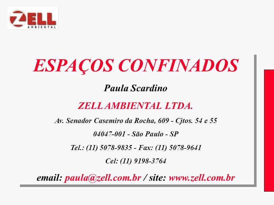 ESPAÇOS CONFINADOS Paula Scardino ZELL AMBIENTAL LTDA. Av. Senador Casemiro da Rocha, 609 - Cjtos. 54 e 55 04047-001 - São Paulo - SP Tel.: (11) 5078-