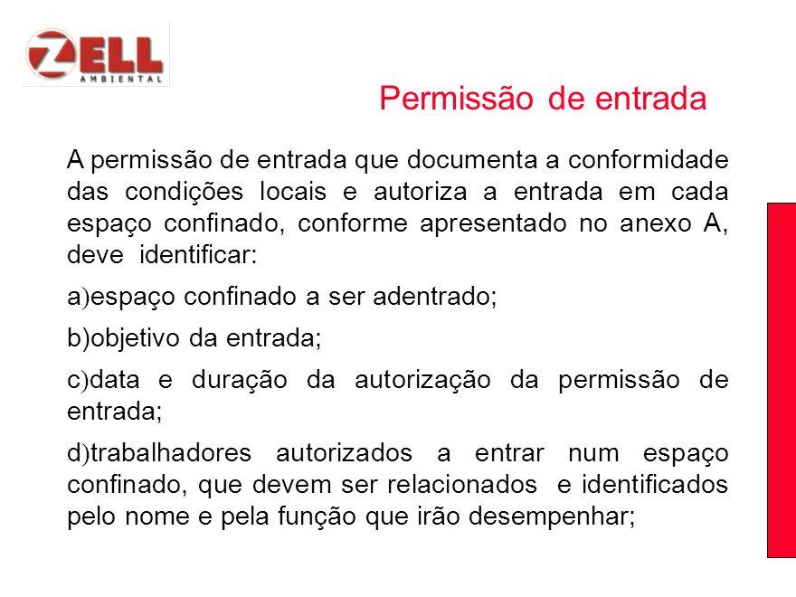 A permissão de entrada que documenta a conformidade das condições locais e autoriza a entrada em cada espaço confinado, conforme apresentado no anexo