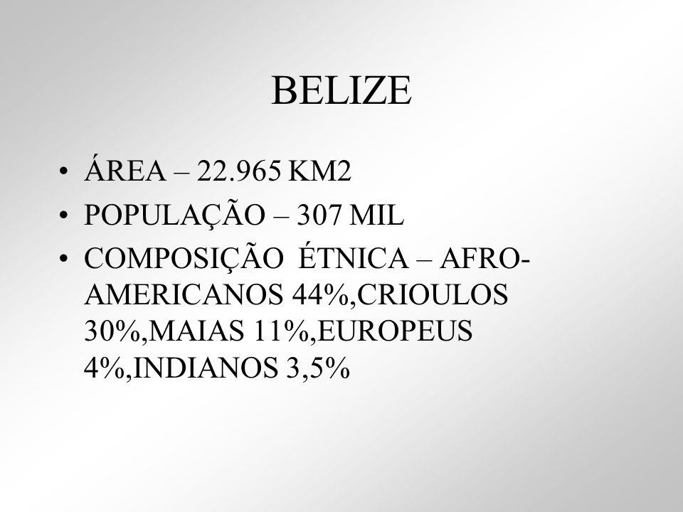 BELIZE ÁREA – 22.965 KM2 POPULAÇÃO – 307 MIL COMPOSIÇÃO ÉTNICA – AFRO- AMERICANOS 44%,CRIOULOS 30%,MAIAS 11%,EUROPEUS 4%,INDIANOS 3,5%