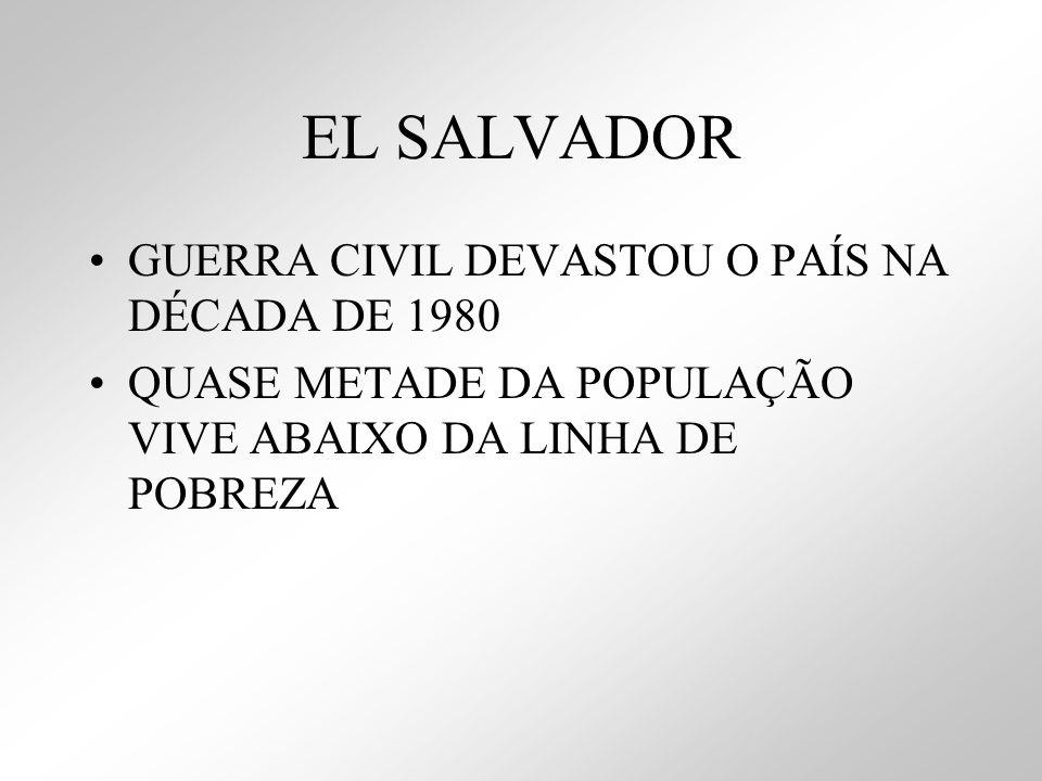 EL SALVADOR GUERRA CIVIL DEVASTOU O PAÍS NA DÉCADA DE 1980 QUASE METADE DA POPULAÇÃO VIVE ABAIXO DA LINHA DE POBREZA