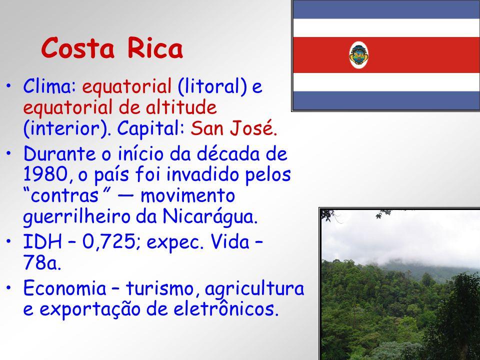 Clima: equatorial (litoral) e equatorial de altitude (interior). Capital: San José. Durante o início da década de 1980, o país foi invadido pelos cont