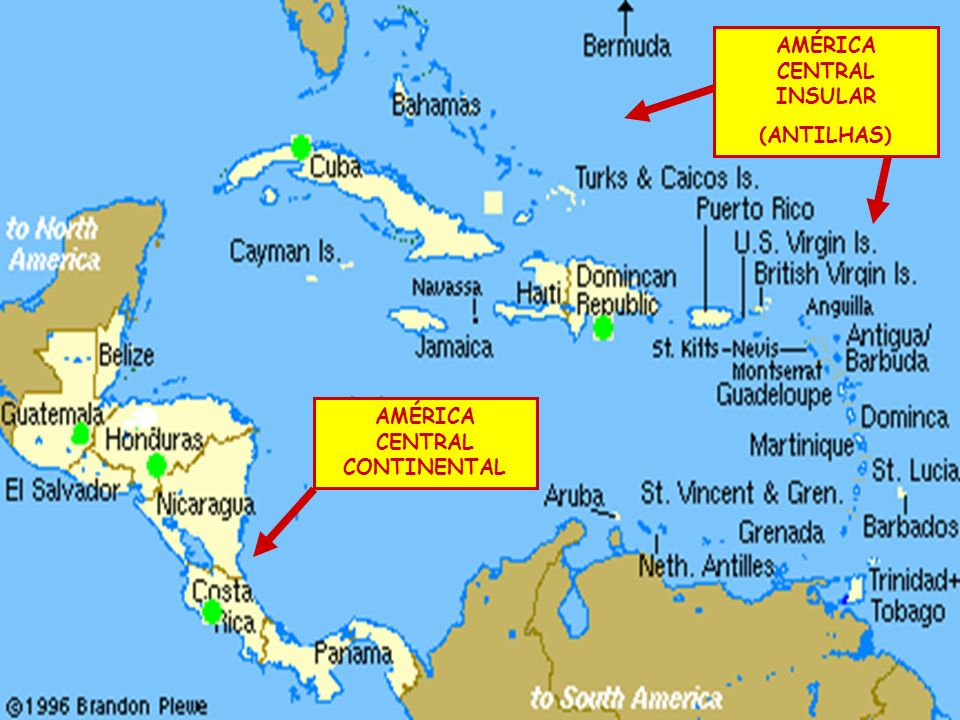 América Central Continental Liga o México à América do Sul.