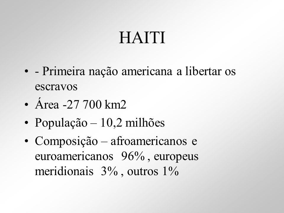 HAITI - Primeira nação americana a libertar os escravos Área -27 700 km2 População – 10,2 milhões Composição – afroamericanos e euroamericanos 96%, eu