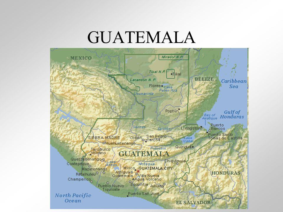 Capital: Cidade de Guatemala; Território da antiga civilização Maia, tornou-se independente em 1821; Economia basicamente agrária e dominada por multinacionais (café, algodão, banana, cacau); Mineração: cromo e chumbo; IDH- 0,560; Expect.