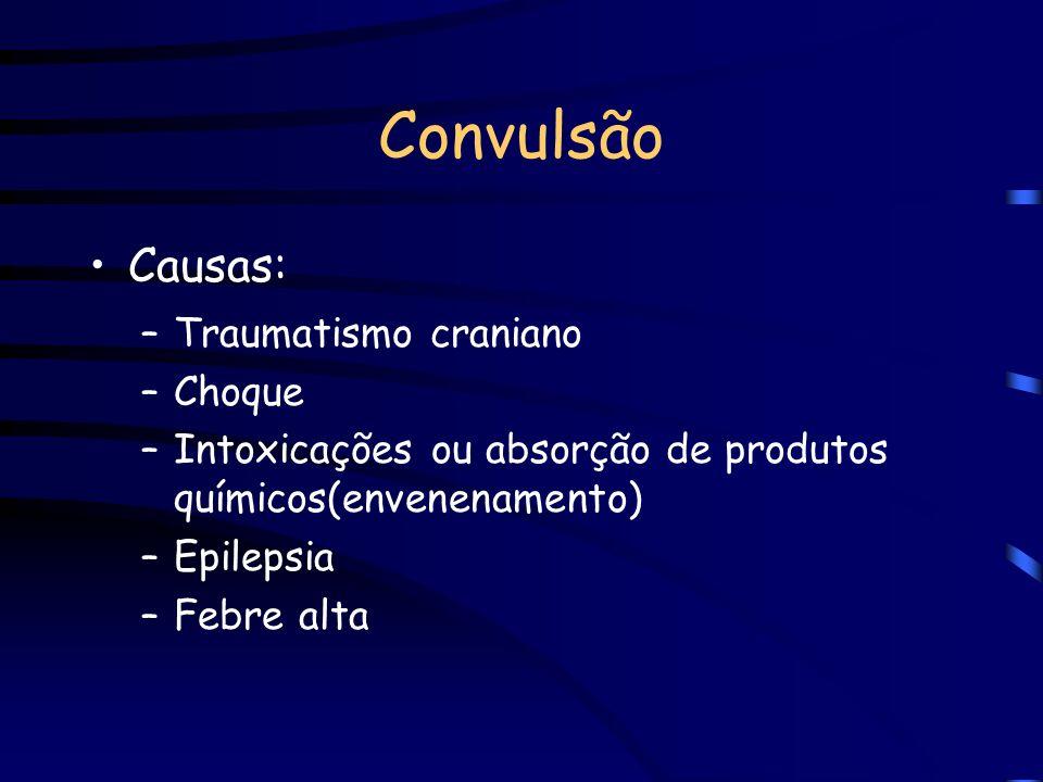Convulsão È a perda da consciência brusca e temporária acompanhado de movimentos involuntários de braços e pernas