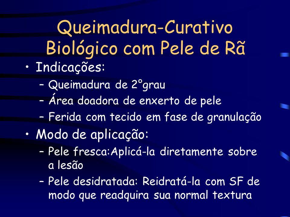 Queimadura-Curativo Biológico com Pele de Rã Uma alternativa para o tratamento de queimadura é a utilização da pele de rã espécie Rana catesbiana shaw