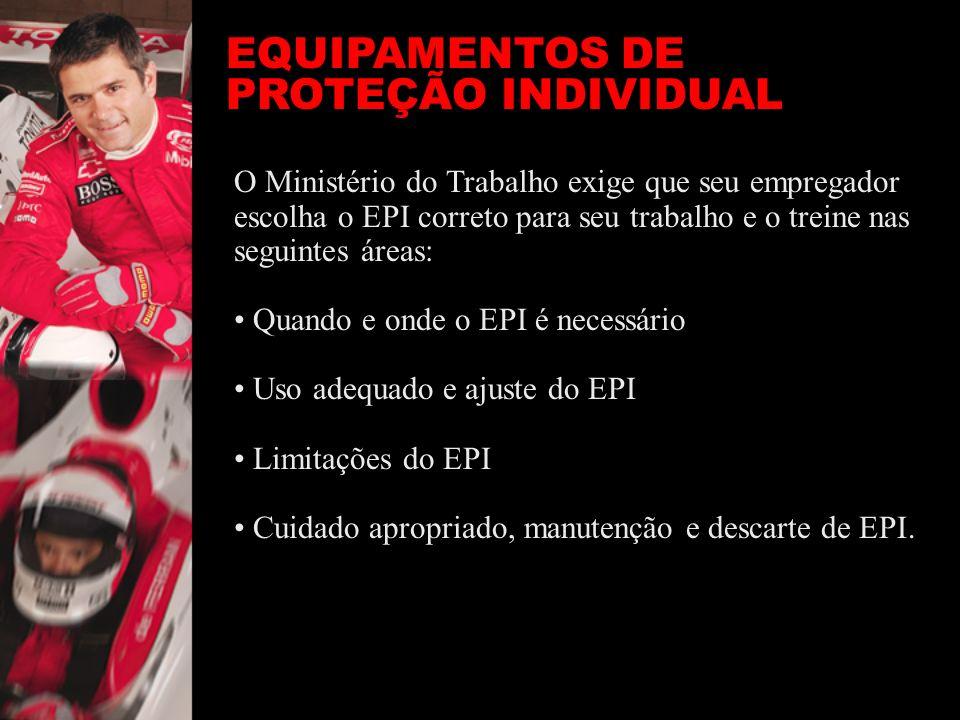 EQUIPAMENTOS DE PROTEÇÃO INDIVIDUAL O Ministério do Trabalho exige que seu empregador escolha o EPI correto para seu trabalho e o treine nas seguintes
