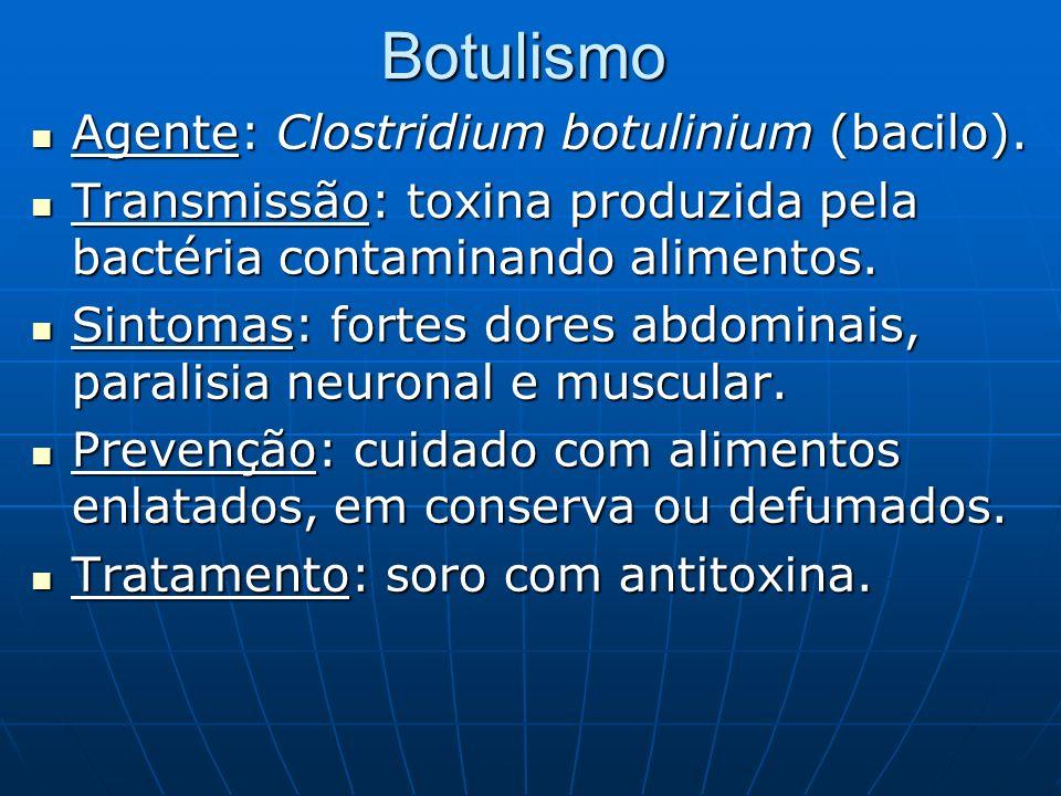 Botulismo Agente: Clostridium botulinium (bacilo). Agente: Clostridium botulinium (bacilo). Transmissão: toxina produzida pela bactéria contaminando a